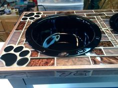 Copper Wave Glass, Black Glass Paw Prints, 64oz Gloss Black Stainless Steel Bowls, White Oak Base, Dyed Dark Brown, Gloss Finish Copper Glass, Paw Prints, Black Stainless Steel, White Oak, Black Glass, Dog Bowls, Dark Brown, Wave, Waves