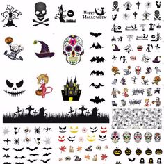Item Type: Sticker & Decal Quantity: 12 sheets Material: water transfer nail stickers Size: per sheet Style: Halloween nail sticker Model Number: nail sticker Frensh Nails, Cute Nails, Pretty Nails, Hair And Nails, Halloween Nail Art, Happy Halloween, Girly Things, Girly Stuff, Water Transfer