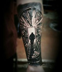 Clock stairs black grey tattoo