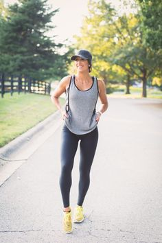 distressed tank, heathered grey tank, alo leggings, nike roshe flyknit sneakers, distressed baseball cap, a southern drawl workouts, weekly workout routine, weekly workouts, weekly exercises, polar a360 watch, cute activewear, cute workout outfit, running routine, girl gains, fitness inspiration, nike fitspo, athleisure, nike athleisure outfit // grace wainwright a southern drawl