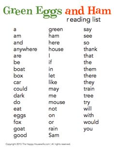 Free Printable: Green Eggs and Ham Word List to go along with our read-aloud series that includes crafts, recipes, and activities for this ageless classic | The Happy Housewife
