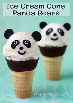 Custard Ice Cream Cone Panda Bears Rich and creamy vanilla custard ice cream is scooped onto chocolate dipped cones and decorated to look like adorable panda bears. Kinder Party Snacks, Cute Snacks, Snacks Für Party, Cute Food, Panda Bear Cake, Panda Cakes, Bear Cakes, Panda Bears, Panda Birthday Party