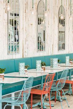 Botanic Kitchen restaurant by Kiwi & Pom, UK - Retailand Restaurant Design #shabbychic #turquoise #coral