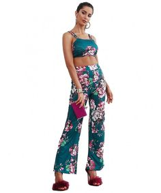 Women s 2 Pieces Strap Top Jumpsuit Set Floral Long Pants Outfits - Green -  CF182T5E7GI. Overalls FashionOveralls ... 40481f691
