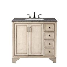 Hazelton 37 in. Vanity in Antique Grey with Granite Vanity Top