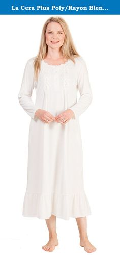 La Cera Plus Poly/Rayon Blend Long Sleeve Ballet Nightgown - Ivory Bloom (2X (22-24), Ivory). Plus Knit Nightgowns - This long sleeve plus size nightgown will feel soft and comfy against your skin. Feminine La Cera polyester/rayon knit nightgown comes in Ivory Bloom and features a lovely feminine bodice with smocking and floral embroidery.