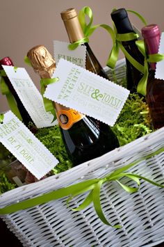 the bride received a wine basket like this one from her sister. Each wine is for a different first in the couples marriage. This is a great idea! Click on this pin and go to the website to find the tags to attach to the bottles. They then photograph themselves opening each bottle to cherish that first in their life