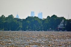 Philly skyline from Pen Ryn Woods by where the old Andalusia Wharf used to be. Morelton Manor in Torresedale is on the right.