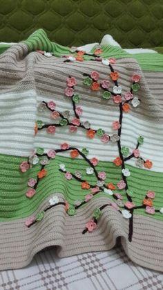 Bahar dalı örgü battaniye