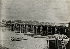 Old wooden bridge at Putney, 1880. The second bridge to be built after London Bridge, constructed in 1726 and replaced by the current stone structure in 1886.
