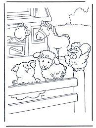 kleurplaten kinderboerderij: paard, schaap, varken, big