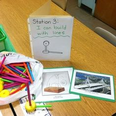 Station 3: I can build with lines.  Having children draw what they build is a great way to begin observational drawing skills.