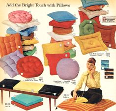 MCM pillows- don't see the puckered round one-? it's a classic too. And the orange sateen triangle one? Vintage Home Accessories, Vintage Home Decor, Vintage Furniture, Furniture Ads, Mid Century Modern Design, Mid Century Style, Kitsch, Retro Living Rooms, Deco Retro