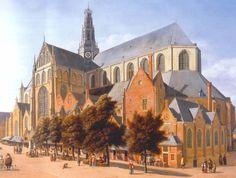 Grote markt met de St. Bavokerk te Haarlem.  In 1696