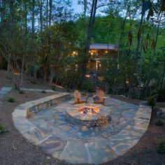 Step-Down FirePit - Stepping down will allow better visual of our plantings behind it.