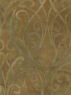 Tuscan Stone Wallpaper | Soft Metallic Brown Palazzo Scroll Wallpaper Traditional Wallpaper