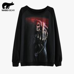Unisex Autumn Sweatshirt 3D Ghost Skeleton Print Tracksuit Thin Sweatshirts Black Casual Pullover Hoody Sudaderas Like if you remember www.lady-fashion.... #shop #beauty #Woman's fashion #Products