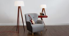Miller Floor Lamp, Walnut and Red | made.com