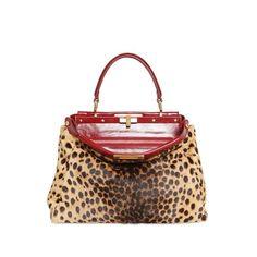 FENDI - PEEKABOO LEOPARD CALFSKIN TOP HANDLE ($2,795) ❤ liked on Polyvore featuring bags, handbags, bolsas, fendi, top handles, leopard bag, calfskin handbag, calf leather handbags, leopard print bag and calfskin purse