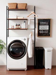 イメージ2 Laundry In Kitchen, Small Laundry Rooms, Laundry Room Design, Home Room Design, Home Interior Design, Living Room Designs, Laundry Area, Bathroom Organisation, Bathroom Storage