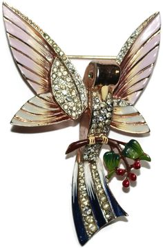 Coro Sterling Enamel Rhinestone Bird Pin Brooch 1940s from luminousbijoux on Ruby Lane