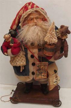 Handmade Primitive Patriotic Santa Claus~Doll & Teddy Bear By Kim Sweet~Kim's Klaus