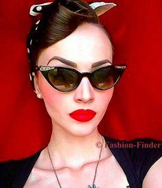 ee38073b5 Rare 50S Cat Eye Glossy Pin Up Rockabilly Retro Betty Page Fashion  Sunglasses S Rockabilly Shoes