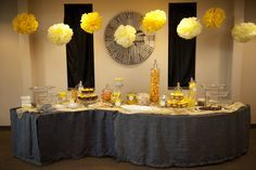 Yellow candy bar/yellow brick road would put an emerald table cloth down though