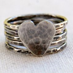 Sweet Romance - Sterling Silver Stacking Rings