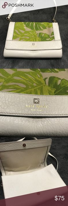 "Kate Spade Leaf Canvas Shoulder Purse Cream color with leaf canvas. A few scuff  near the snap button. Inside has make up stains, length 10"", height 7"", width 2.5"". Overall very Chic kate spade Bags Shoulder Bags"