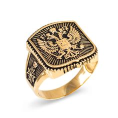 Dark Gold Russian Imperial Crest Double-headed Eagle Mens Orthodox Ring