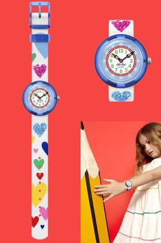 This Swiss-made kids analogue watch shows in full technicolour - pink, white, blue, and more - that love comes in many shapes and sizes. A perfect gift for kids who want to learn to tell the time, LOVE MY HEART (ZFBNP116) is a watch that lets them wear their heart on their wrist. Extra sparkle is introduced by Swarovski crystals arranged on the dial, and the watch is also machine washable and BPA-free. Telling Time, Gifts For Kids, Pink White, My Heart, Swatch, Swarovski Crystals, Sparkle, Shapes, Let It Be
