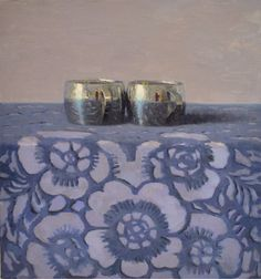 Olga Antonova / Silver Cups on Blue Floral
