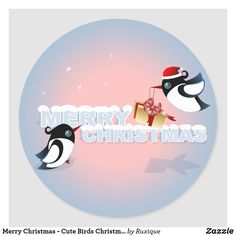 Shop Merry Christmas - Cute Birds Christmas Present Classic Round Sticker created by Ruxique. Merry Christmas, Christmas Bird, Christmas Post, Christmas Mugs, Christmas Gift Tags, Xmas Gifts, Christmas Presents, Christmas Holidays, Christmas Ornaments