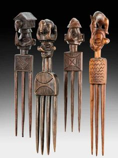 Africa   Four combs from the Yaka people of DR Congo   Wood   19th - 20th century