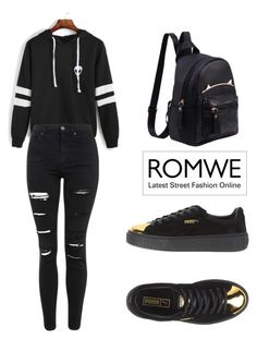 """""""ROMWE Sweatshirt"""" by tania-alves ❤ liked on Polyvore featuring Topshop and Puma"""