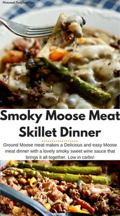 Smoky Moose Meat Skillet Dinner with an easy wine sauce make ground Moose meat into a luxury dinner in no time. Moose Recipes, Baby Food Recipes, Low Carb Recipes, Cooking Recipes, Game Recipes, Moose Meat, Easy Dinner Recipes, Easy Meals, High Protein Dinner
