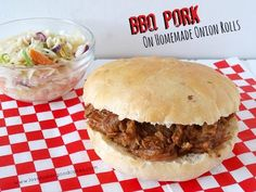 BBQ Pork on Homemade Onion Rolls by Love Bakes Good Cakes