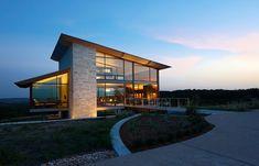 Jim Gewinner's AIA award winning contemporary glass and native limestone home, Fredericksburg, Hill Country