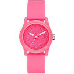 Skechers Womens Neon Pink Dial Pink Silicone Strap Analog Watch ($24) ❤ liked on Polyvore featuring jewelry, watches, analogue watch, neon watches, silicon watches, silicone jewelry and water resistant watches