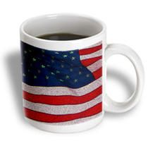 3dRose - Jos Fauxtographee Patriotism - A close up of An American Flag in Red, White and Blue - Mugs