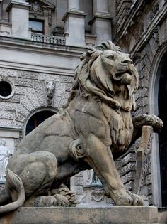 Lion Statue, National Library, Vienna, Austria by Curious Expeditions Animal Statues, Animal Sculptures, Lion Sculpture, Statue Tattoo, Statue Of Liberty Drawing, Poseidon Statue, Virgin Mary Statue, Krishna Statue, Fu Dog