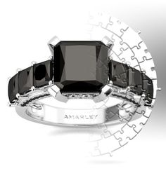 Amarley Black Range - Sterling Silver 2.5 CT. Princess Cut Black CZ Cubic Zirconia Promise Ring