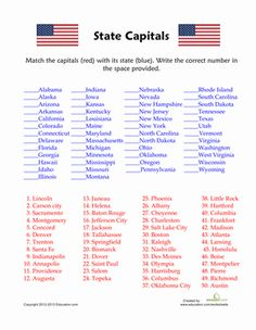 50 states and capitals quiz - State Printables