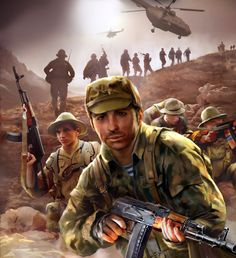 Soviet assault troops taking a hilltop, Soviet-Afghan War