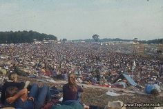 The vast crowd in Woodstock, New York, 1969.