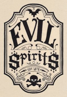 Evil Spirits Apothecary Label Stitch this spooky oldfashioned label onto tea towels totes placemats and Retro Halloween, Halloween Prop, Theme Halloween, Halloween Projects, Holidays Halloween, Halloween Decorations, Halloween Signs, Halloween Halloween, Halloween Pumpkins