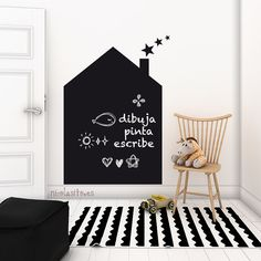 Chalkboard house Vinyl Decal - Blackboard for Drawings & Children Scribbles - House Chalkboard Wall Sticker - Nursery deco - Children wall
