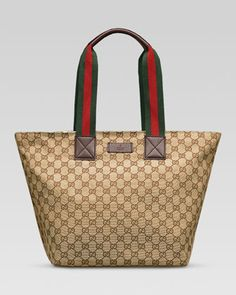 Original GG Canvas Tote with Signature Web Straps, Brown by Gucci at Neiman Marcus.