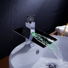 Single Handle Waterfall Color Changing Bathroom Countertop Sink LED Faucet